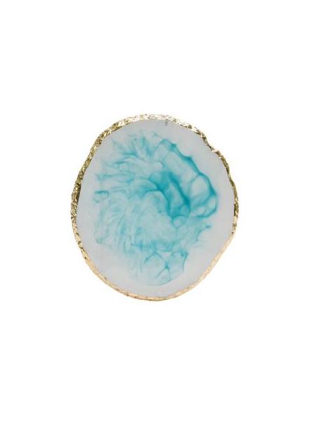 精緻瑪瑙膠水盤 藍色